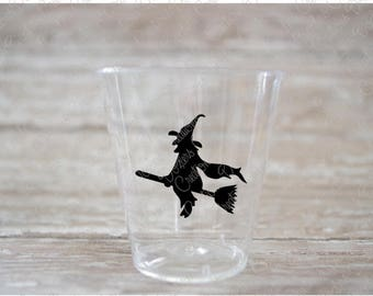 Witch Riding A Broom Halloween Plastic Shot Glasses