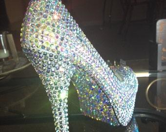 Crystallized Crystal Clear Aurora Borealis High Heels