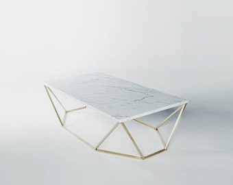 Modern Large Coffee Table in White Marble and Brushed Brass