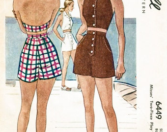 1940s 40s vintage beach playsuit sewing pattern halter high waist shorts  bust 32 b32 repro reproduction