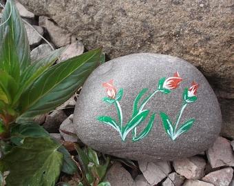 3 flowers -  Hand painted pebble