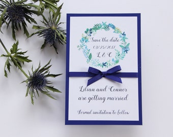 SAMPLE, Floral Wreath Save the Date, Save the Date Card, Blue Save the Date, Floral Save the Date, Whimsical Save the Date