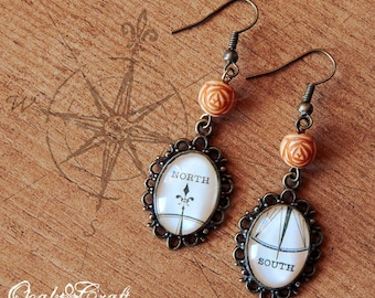 """OOAK Wind rose compass """"North-South"""" bronze tone cameo earrings Steampunk/Victorian/Vintage style"""