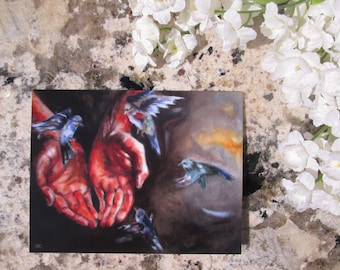 Oil Painting  Blank Greeting Card.  Sympathy Card. Bird Lover Card. Spiritual Card.