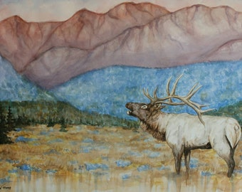 Original Framed Bugling Elk in Colorful Mountain Landscape Watercolor Painting