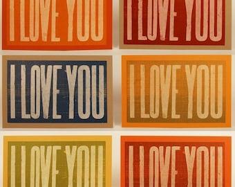 4 I LOVE YOU Cards Letterpress Hand Printed oversized recycled paper kraft envelopes