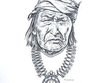 Signed Nancy Mclaughlin ( 1932-1984) Native Portrait Sketch (Lanyade-Zuni) Print
