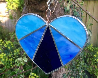 Bespoke stained glass blues heart