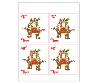 Christmas gift tags - Santa with sleigh
