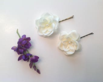 Flower Girl Hair Pins Ivory or White with a hint of yellow Hair Pins Bridal or Prom Hair Pins - Set of 3 - Ready to Ship!