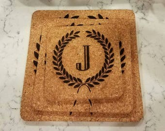 Custom, Personalized Cork Trivets for the Home, Kitchen, Entertaining, Wedding Gift, Couples, Wedding Party by Jackglass on Etsy