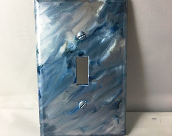 Switchplate, Blue Decor, Unique Switchplate, Painted Switchplate, Home Decor, Alcohol Ink Decor