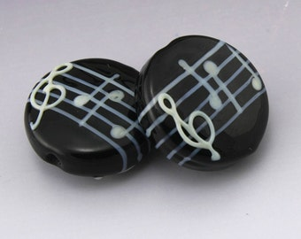 SRA Lampwork Beads Music Note Beads Black Lentil White Notes Treble Clef Handmade Lampwork Earring Pair for Musician Heather Behrendt