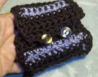 Wide Crochet Cuff Bracelet--Stripes and Buttons