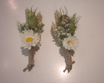 Beautiful Bespoke Wedding Buttonholes. Made from dried flowers and grasses for a rustic, vintage or country feel. Woodland Daisies Festival