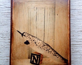 Vintage Toy  N is for Narwhal Art/Photo - Wall Art 4x6