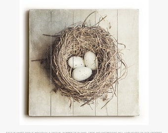 Wood Sign: Rustic Wood Bird Nest Wall Art, Beige Home Decor, Cottage Decor Ready to Hang, Rustic Kitchen Decor on Wood Planks, Gift for Mom.