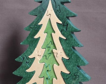 Beautiful Natural Pine Christmas Tree Puzzle Wooden Toy Decoration Hand Cut