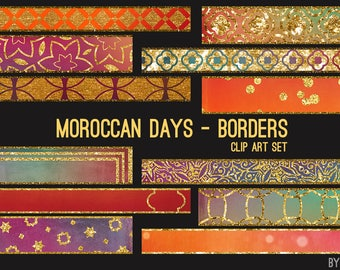 Borders Clip Art Moroccan Days Art Borders Paint Watercolor Glitter 32 Image JPG File 12in Commercial Use Graphics Digital Clipart