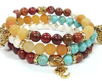 Gemstone Beaded Bracelets, Buddha bracelets, Yoga Stretch bracelets, Boho Bracelet, Womens, Handmade, Custom, Beaded Jewelry, Womens Jewelry