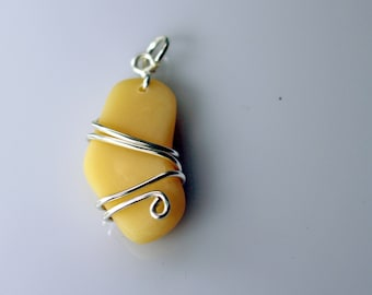 Polymer Clay Faux Sea Glass Pendant - wire wrapped yellow