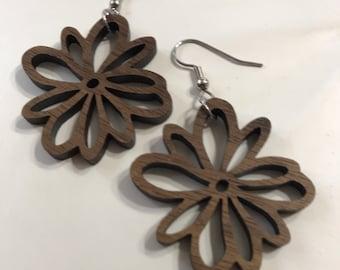 Flower Laser-Cut Walnut Earrings
