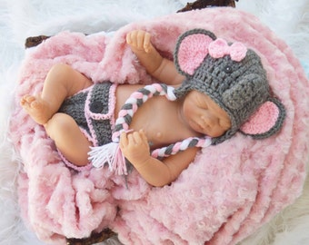 elephant hat, pink and gray, newborn elephant outfit, elephant hat and diaper cover, elephants hats, elephant prop, baby girl elephant