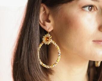 Gold hoop earrings BOHO chic earrings Beaded hoop earrings Gypsy statement earrings Seed bead earrings Fringe earrings Swarovski earrings