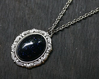 Blue Goldstone Necklace Cameo