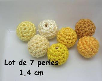 7 beads (1.4 cm) yellow color Mercerized cotton crochet
