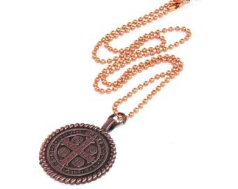 St. Benedict Medaille, Kupfer Anhänger Schutzpatron Halskette