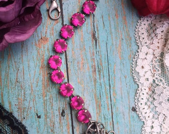 Swarovski crystal 8mm antique silver bracelet with fuchsia matte crystals