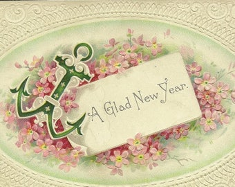 Antique New Year's Postcard Anchor and Pink Floral Accents 1912