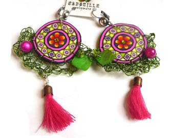 Earrings in pink and green Gypsy spirit