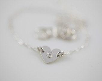 heart bracelet, dainty bracelet, initial bracelet - sterling silver