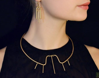 Brass minimalistic set (necklace and earrings)
