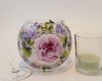 Hand Painted Glass Fish Bowl Candle Holder With Pink Roses and Purple Daisies