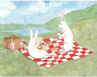 Our Picnic - Fine Art Print - Rabbits