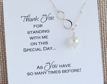 Thank you Bridesmaids Gift | Pearl Necklace | Bridal party Jewelry