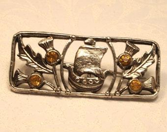 Vintage Scottish thistle brooch with ship. Rhinestones