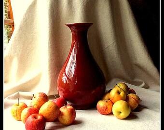 "Mid Century ""Sang de Boeuf"" Red Glaze - Large Chinese Porcelain Vase - Midcentury Glam Home Decor - Asian Zen Inpsired Porcelain"