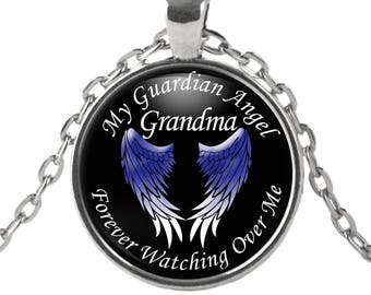 Guardian Angel Necklace - Grandma - My Grandma is my Guardian Angel Pendant - Angel Necklace - Memorial Jewelry Necklace for Grandma