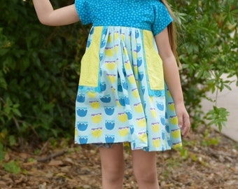 Girls Floral Dress, Toddler Floral Dress, Summer Dress, Girls Dress, Girls Spring Dress, Toddler Spring Dress, Floral Dress, Blue Dress
