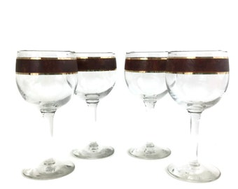 Four Mid Century Culver Tortoise Wine Glasses Brown Marble and Gold