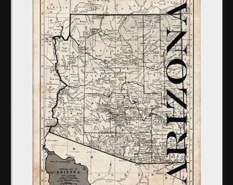 Arizona Map - Map of Arizona - Poster - Print - Sepia