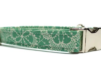 Dark Mint Lace Dog Collar | Your choice of metal buckle or plastic buckle | Mint Dog Collar | Summer Dog Collar | Lace Dog Collar