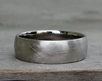 Recycled Wedding Band / Ring - 950 Palladium, Matte / Brushed, 7mm Wide, Comfort Fit, Eco-Friendly, Ethical, Made To Order