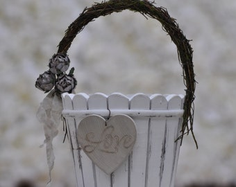 Personalized~Shabby Chic - Cottage~Vintage~Flower Girl Basket ~ Wood