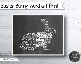 Easter print - bunny sign - bunny shaped word art - easter art print - printable digital file - wall art - easter decor - chalkboard sign