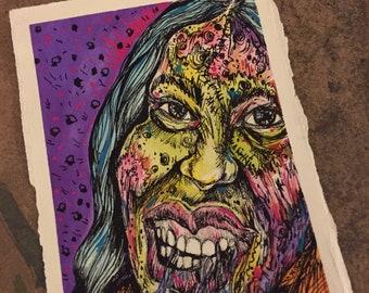 ORIGINAL Zombie Mini Drawing Becky Zombie